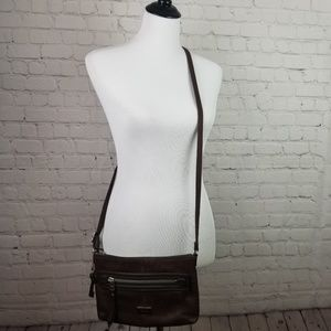 Fossil Dawson Cross-body Brown Pebbled Leather